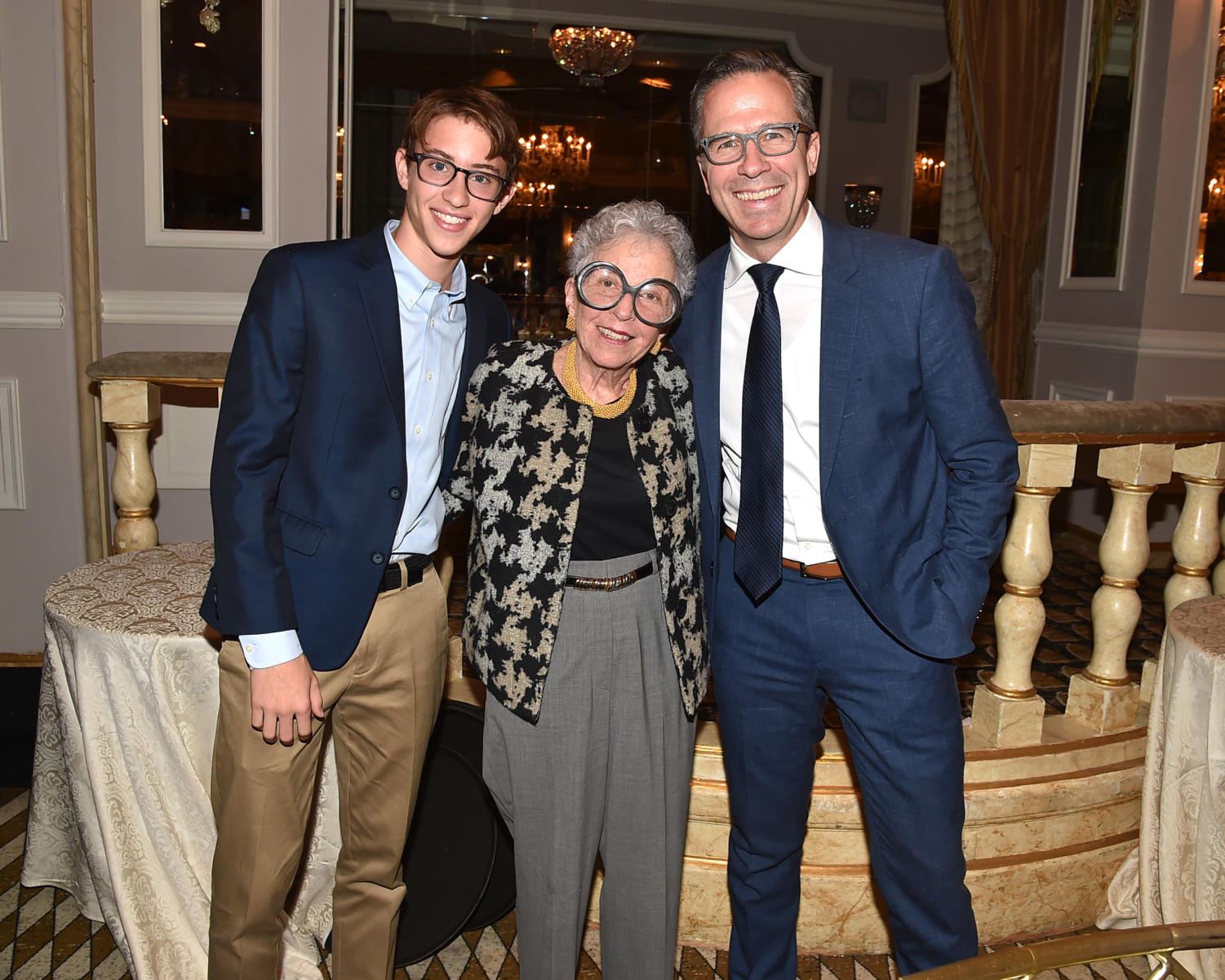 Guest judge Sylvia Weinstock, center, poses with Alexander Nichols and Dr. Brendon Stiles at the Lung Cancer Research Foundation's 13th annual awareness luncheon.