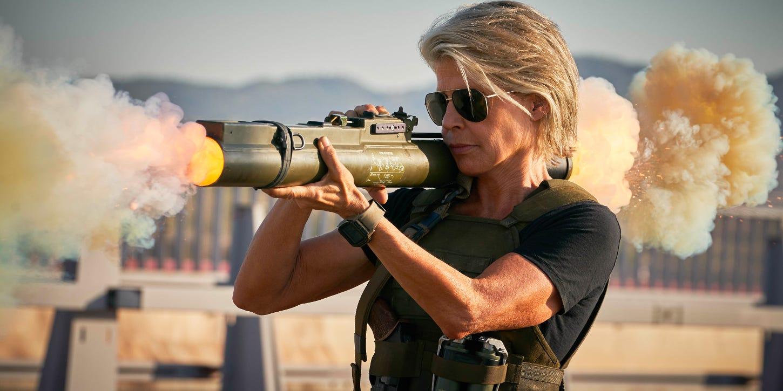 Sarah Connor (Linda Hamilton) fires a rocket launcher towards a Rev-9 Terminator.