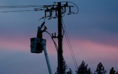 A PG&E worker performs maintenance duties on power lines.