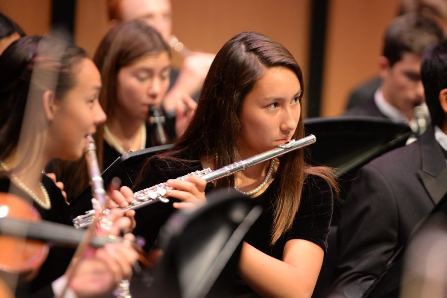 A+student+plays+the+flute+in+the+Carlmont+band.