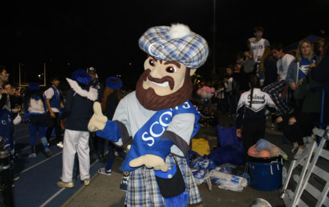 Carlmont's mascot, Monty, helps energize students at the tailgate and game.