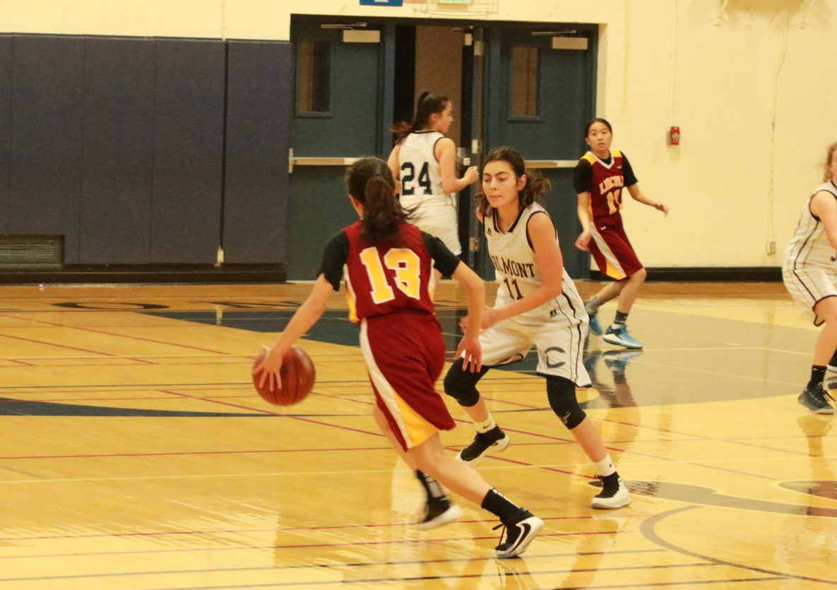 Aylin Salahifar defends the point guard as she dribbles the ball.