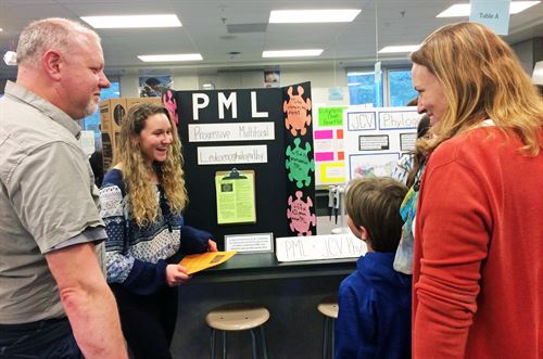 A student presents their project at Open House. These presentations are one of the many out-of-class activities BTI has.