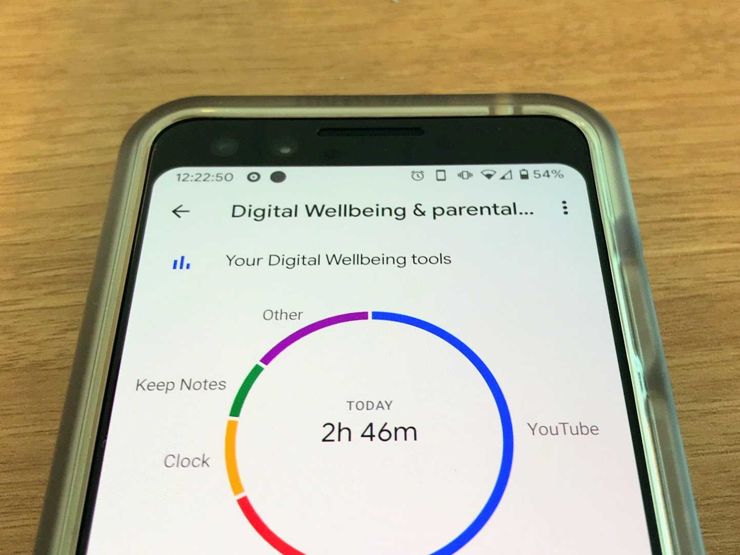 A device running Google's Digital Wellbeing software helps a user measure the time spent on specific apps. Digital Wellbeing helps Android users control how they use their device to curb phone addiction.
