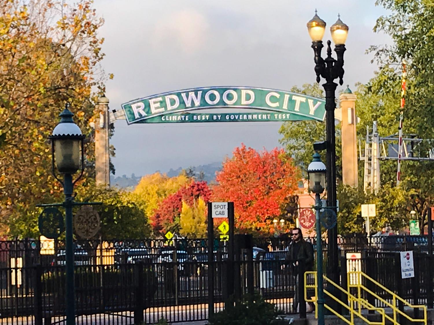 This sign is in the heart of Redwood City and welcomes people into the community.