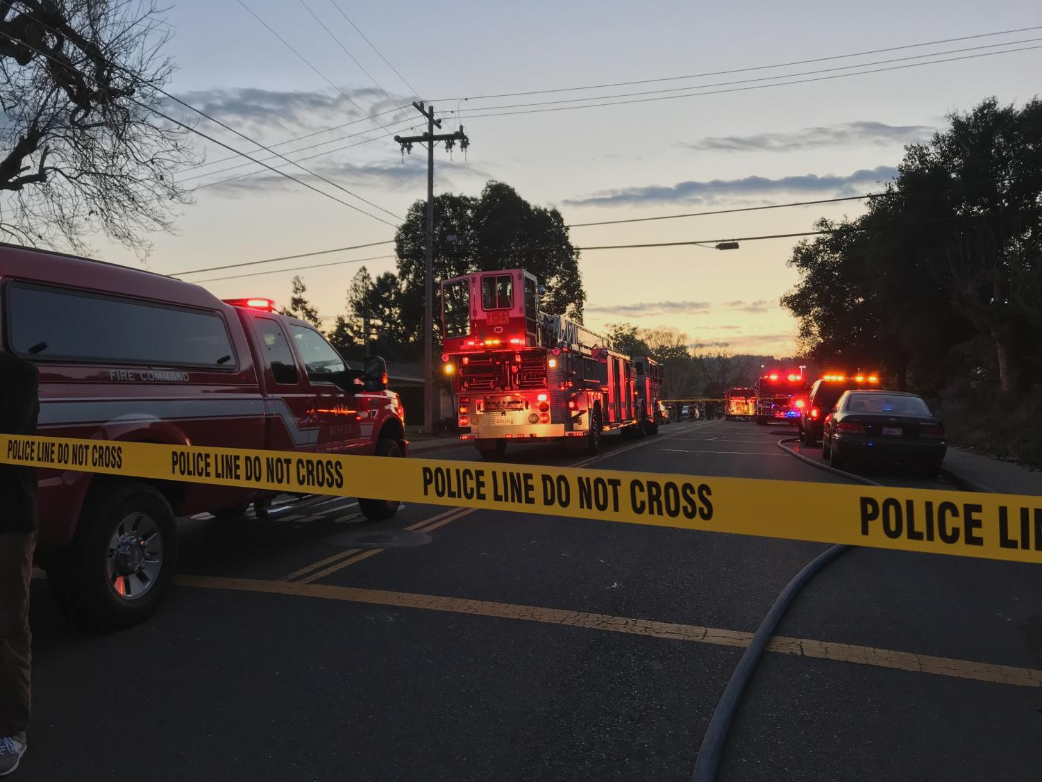 The 1500 block of Chula Vista Drive is taped off while officials investigate the cause of the fire.