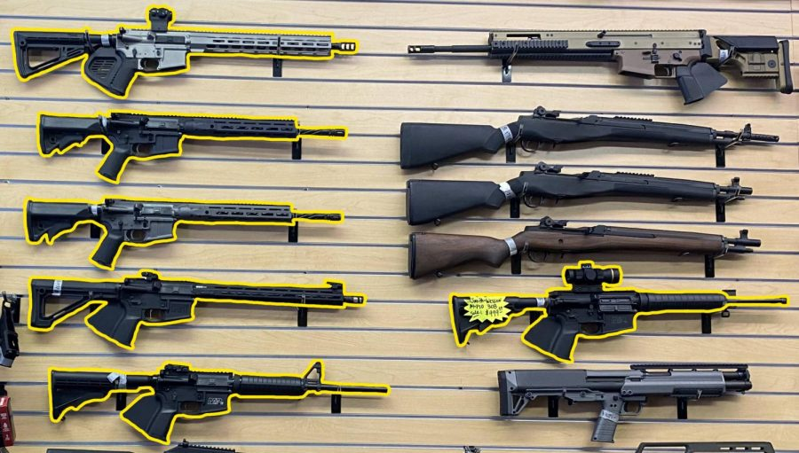 Consumer AR-15 rifles on sale at a bay area gun store.