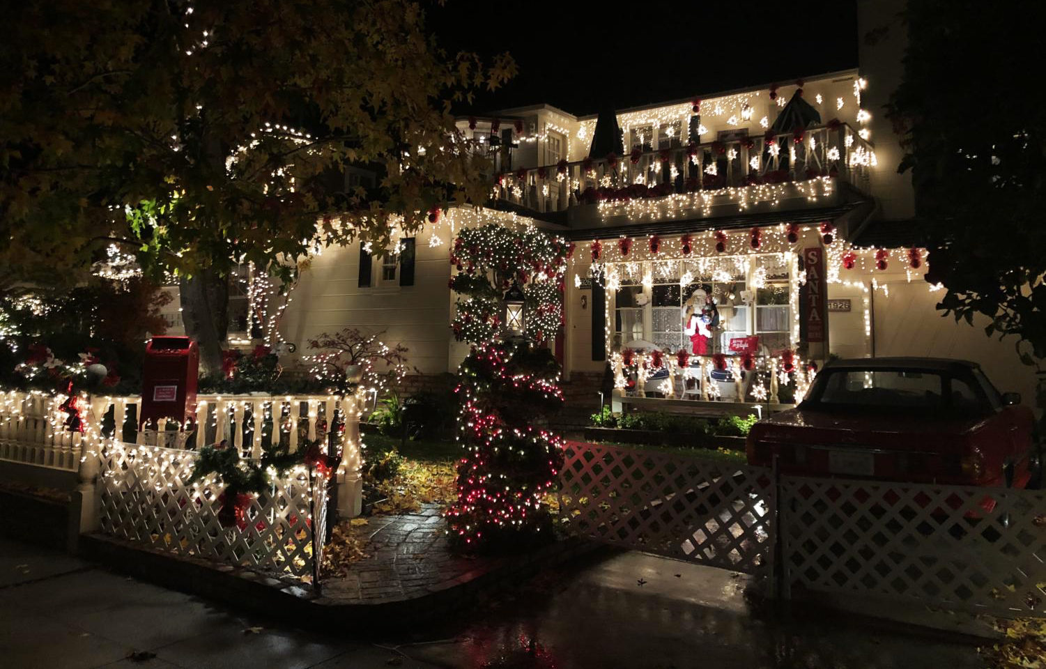 The houses on Eucalyptus Street feature bright lights to celebrate the holiday season.