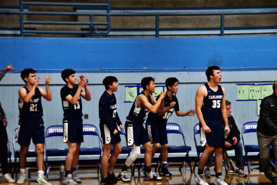 The+Carlmont+bench+erupts+with+applause+as+a+basket+is+scored+by+one+of+their+teammates.