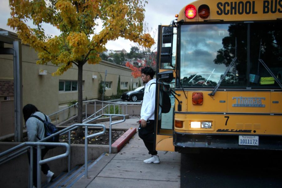 Students arrive at Carlmont after more than an hour-long bus ride from East Palo Alto at 7:30 a.m.