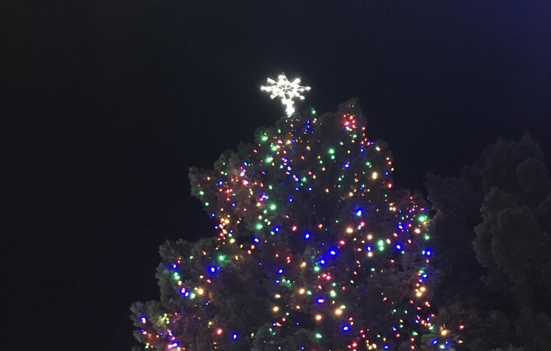 The Christmas tree is lit up in a colorful display of lights.