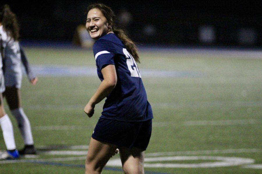 Madeleine+Cunningham+rejoices+after+she+scores+a+goal.+