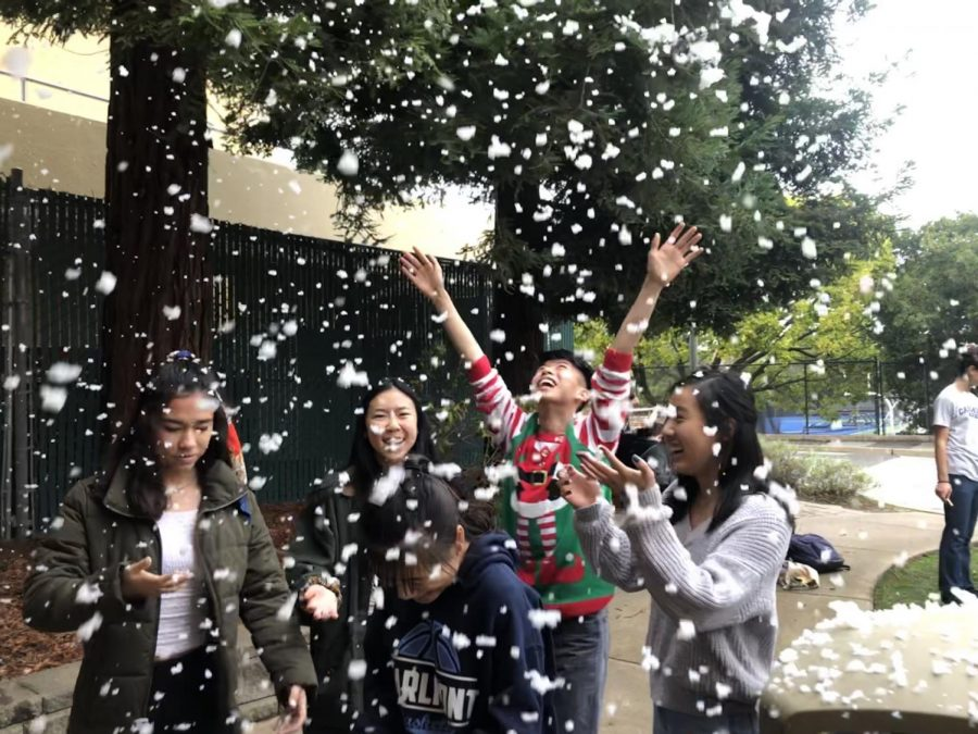 Many students enjoyed the snow machine in the quad and took pictures with friends.