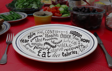 Words associated with disordered eating swim across a plate, while food fills the background.