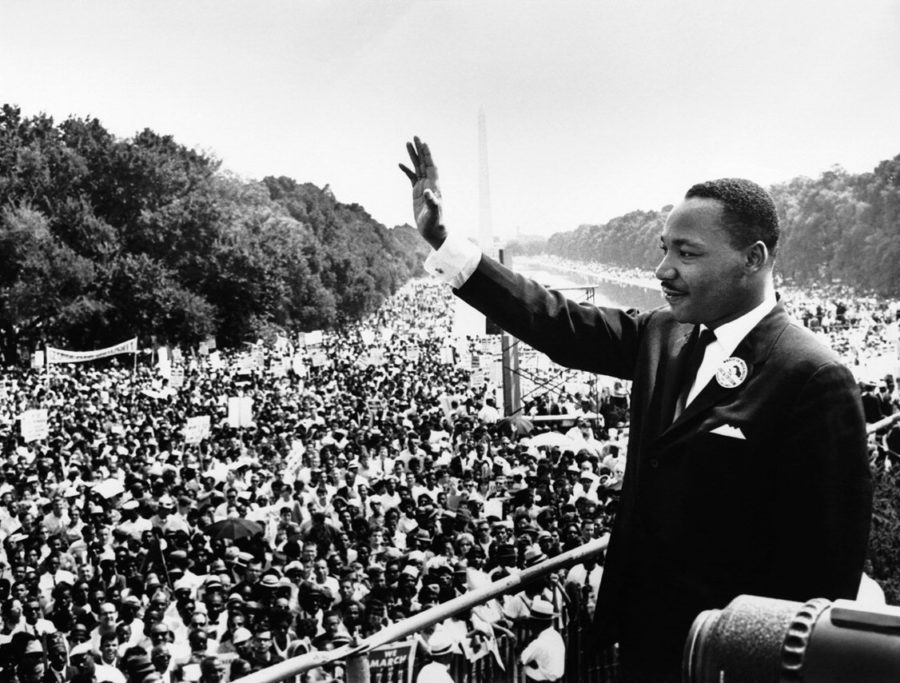 Martin+Luther+King+Jr.+addresses+his+followers+during+the+March+on+Washington%2C+which+was+a+turning+point+for+the+civil+rights+movement.