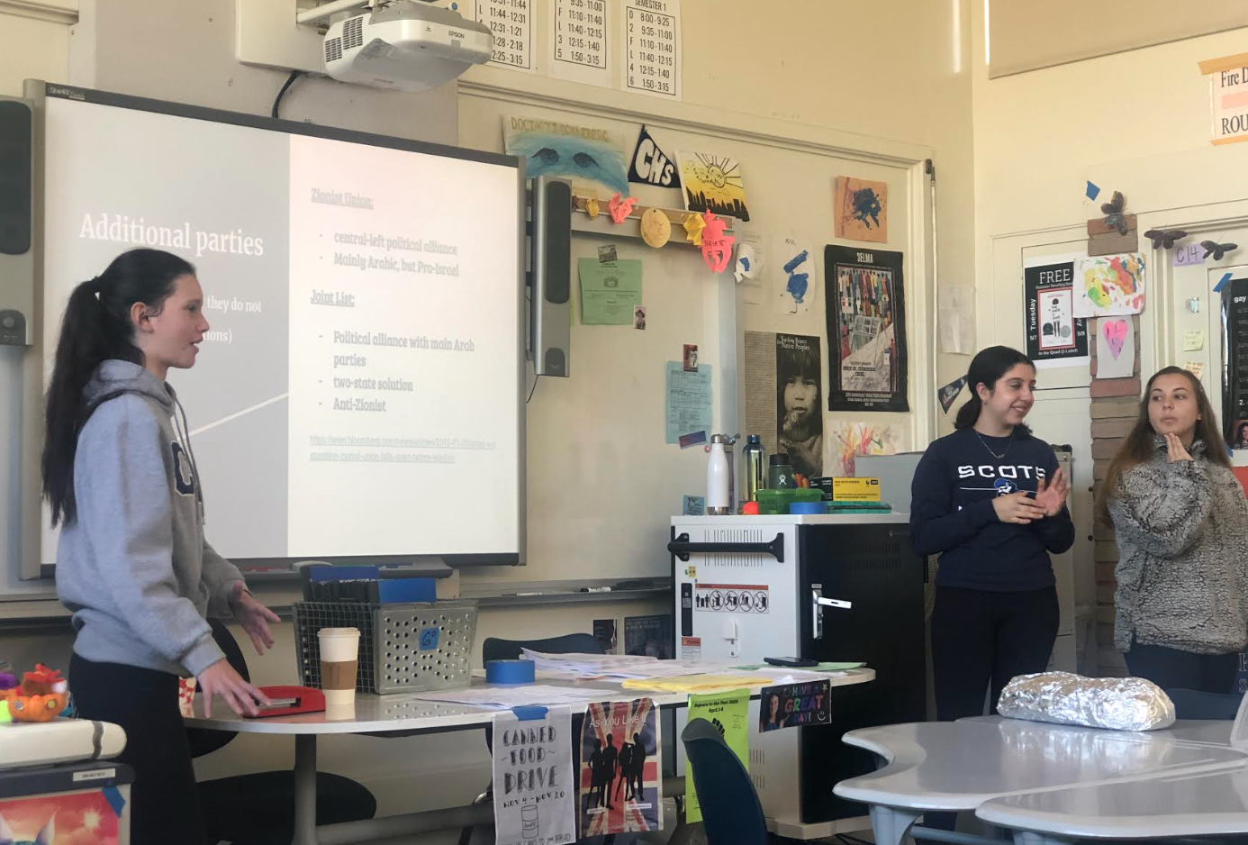 Members of the Jewish Club share a presentation concerning the election in Israel.