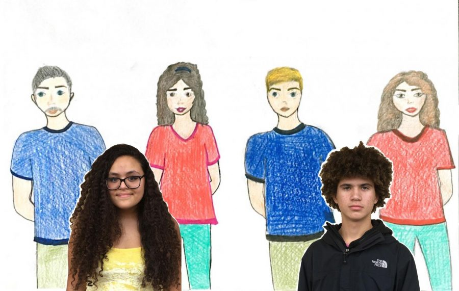Mia Yoch and Madsen LePelley are featured with artistic renderings of their parents.