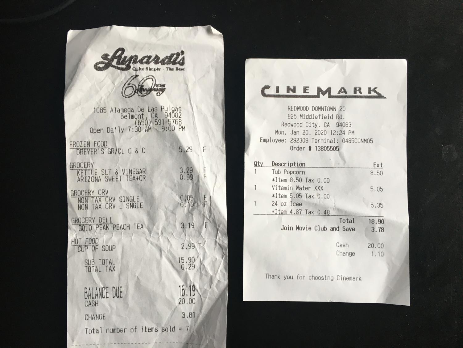 Two receipts show the difference between tax not included (left) and tax included (right).