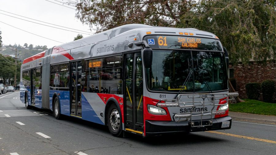 A+new+SamTrans+bus+operates+on+a+route+designated+for+students.