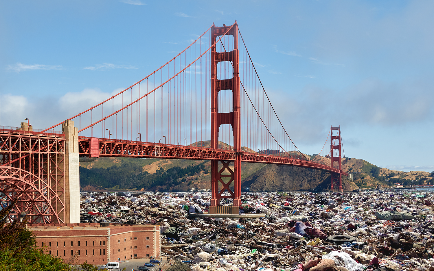 Tourists are drawn in by the Golden Gate Bridge but are welcomed by dirty streets.