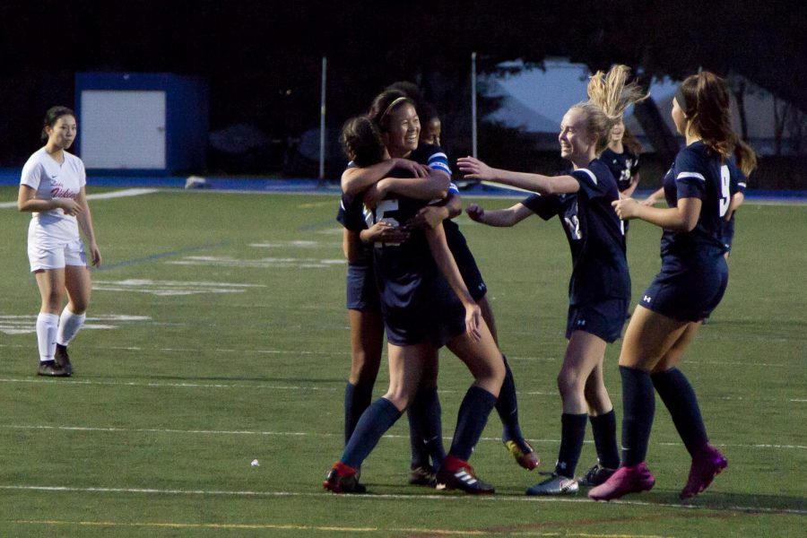 Carlmont+celebrates+a+goal+scored+by+Katie+Blondino.
