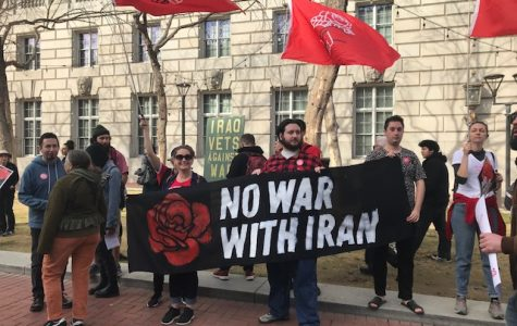 Anti-war protesters join hundreds of others in the streets of San Francisco.  After an emergency call to action by Bay Area activists, over 300 people showed their solidarity with the Iranian people.