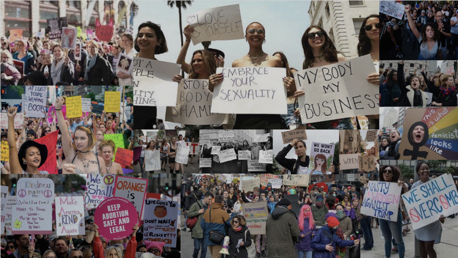 Women from all around the world protest in the international movement for feminism