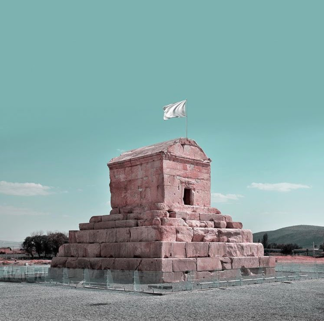 One of the great historical sites in Iran that President Trump threatened to bomb: the tomb of Cyrus the Great, built in sixth century B.C., waving a white flag signifying a surrender or truce.