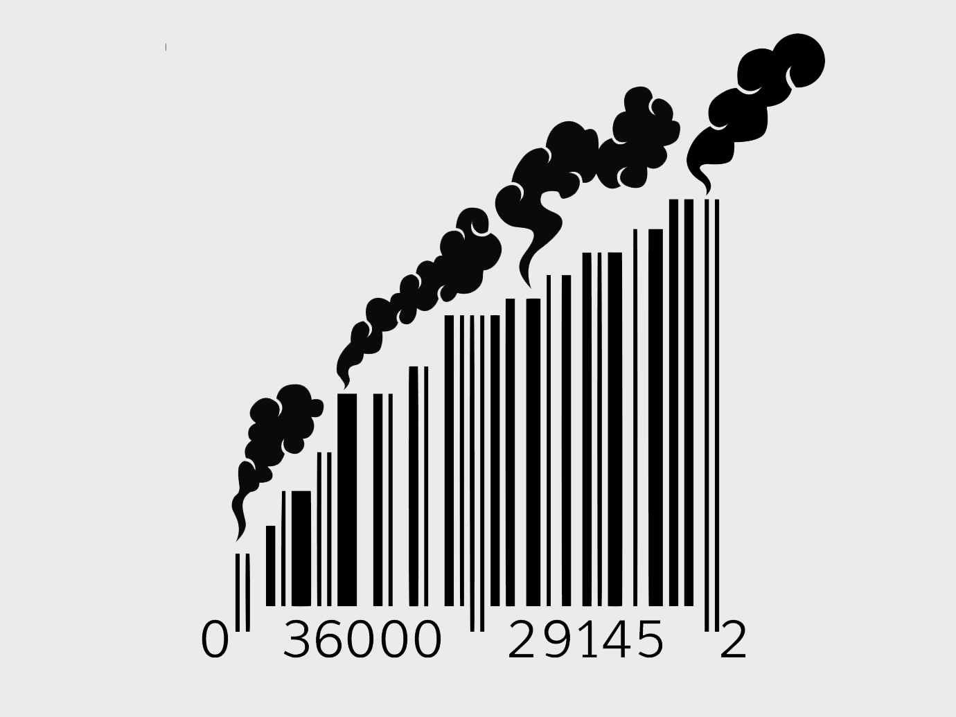 A barcode with smoke coming out of it symbolizes the pollution produced by consumerism.