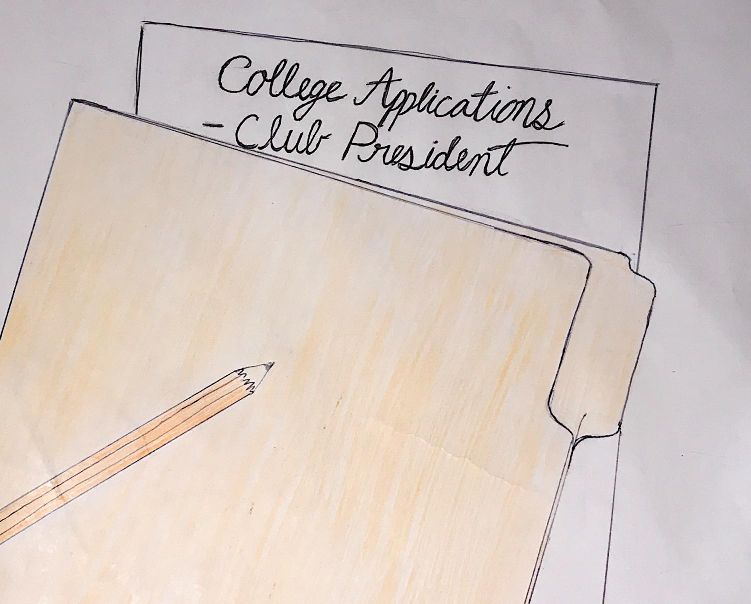 Students list their accomplishments for college applications, one possibly being the title of club president.