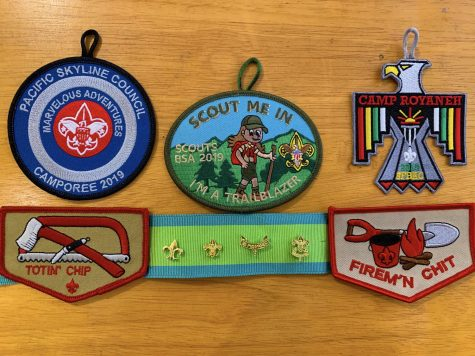 Temporary patches and pins signify key points in a Scout