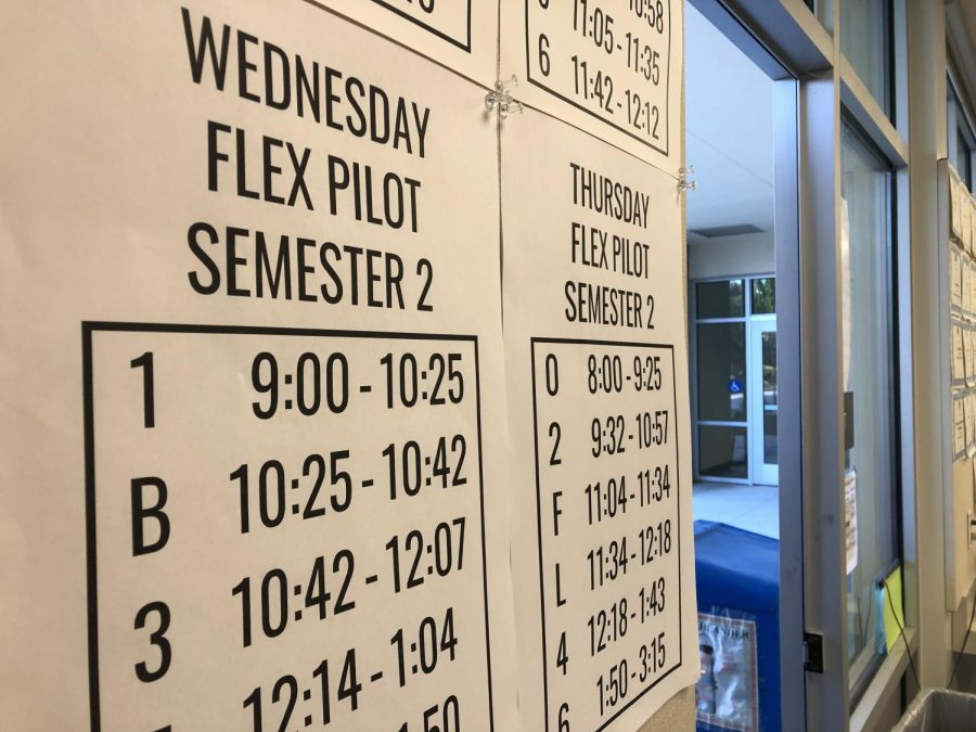 Teachers hang the pilot flex schedules up in their classrooms to inform students of the different Wednesday and Thursday schedules.