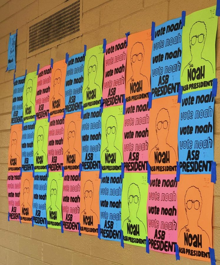 Posters promoting Noah Camerino's run for ASB president decorate the halls.