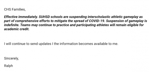 On Thursday, March 12, SUHSD athletes were informed that, due to the COVID-19 pandemic, all sports competitions between schools would cease.