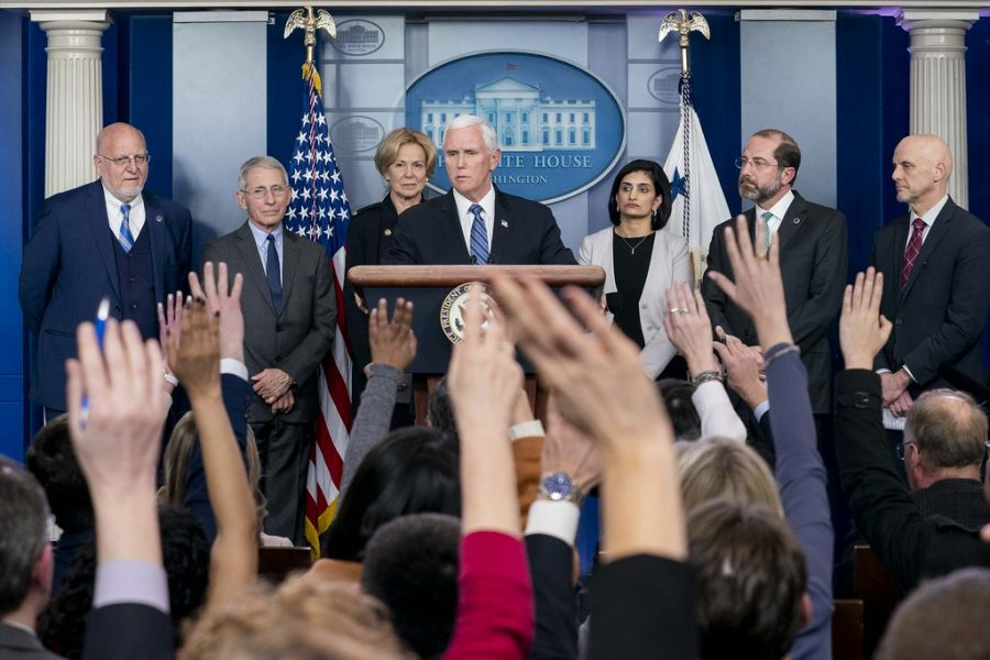 Vice+President+Mike+Pence+holds+a+press+conference+with+Secretary+of+Health+and+Human+Services+Alex+Azar+and+the+White+House+Coronavirus+Response+Coordinator+Dr.+Deborah+Birx+Monday%2C+March+2%2C+2020%2C+in+the+White+House+Press+Briefing+Room.+