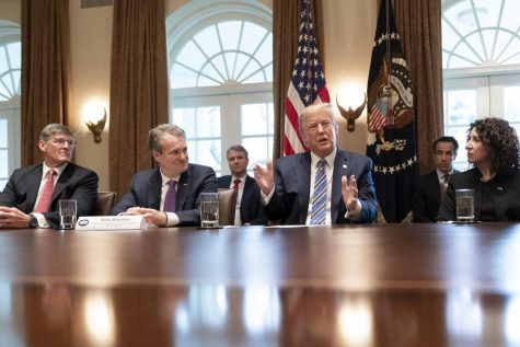President Trump meets with representatives of the banking industry to discuss effects of COVID-19.