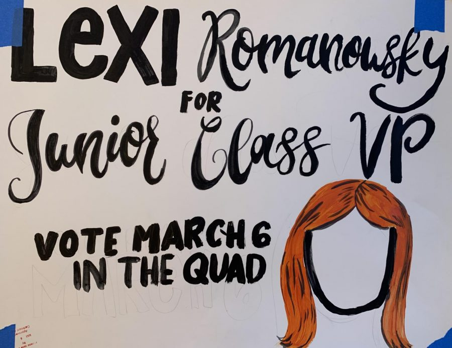 A+poster+convinces+students+to+vote+for+sophomore+Lexi++Romanowsky%2C+one+of+the+candidates+in+the+election.