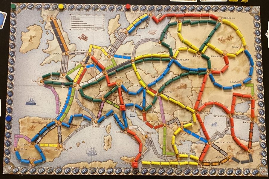 The board of Ticket to Ride Europe at the end of a four-player game.