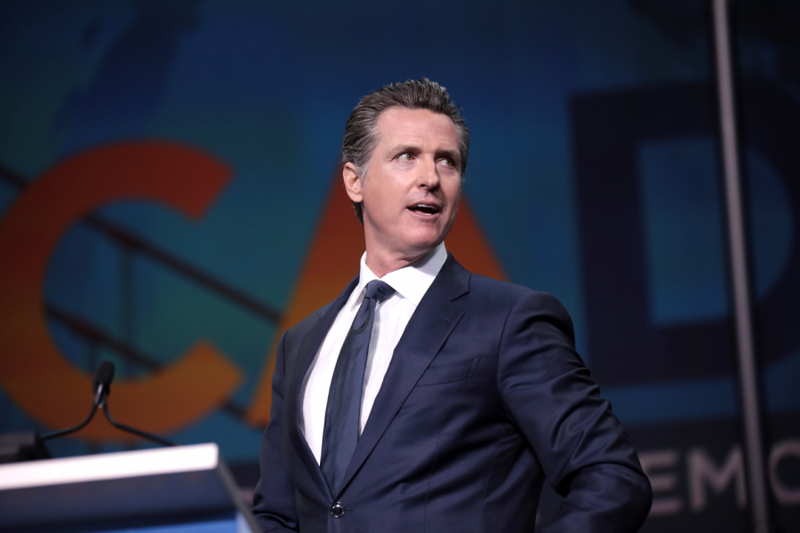Gavin Newsom speaking at the 2019 California Democratic Party State Convention in San Francisco, California.