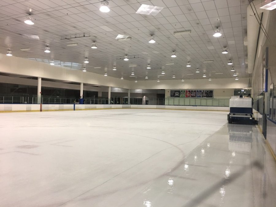 The ice resurfacer machine prepares the rink of Nazareth Ice Oasis for their next skating session.