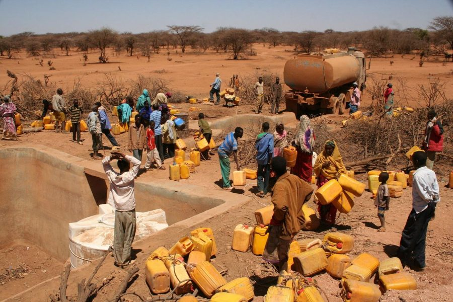 Water is distributed in the rural areas of southern Ethiopia during a period of severe drought.