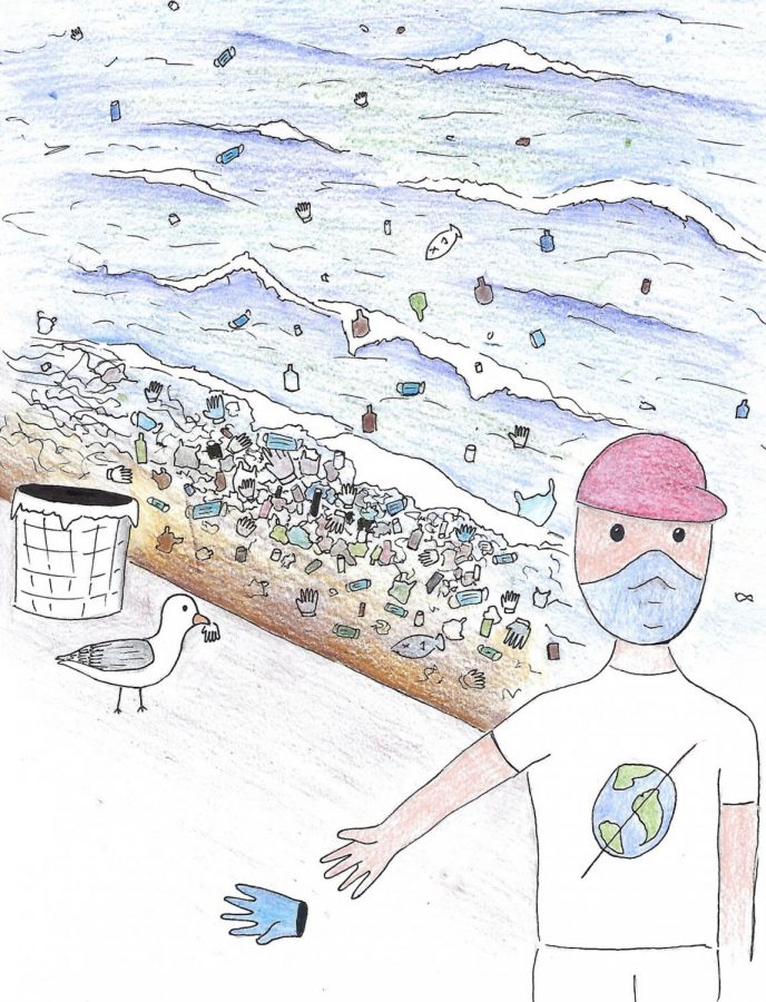 Humans continue to damage the environment despite stay-at-home orders. Used gloves and masks are not being disposed of properly and contribute to mass plastic pollution.