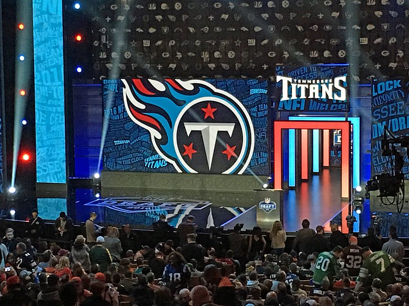 The+Tennessee+Titans+make+their+selection+as+fans+await+the+announcement+in+the+first+round+of+the+2016+NFL+Draft.+Due+to+the+outbreak+of+COVID-19%2C+the+2020+draft+will+be+held+virtually+to+keep+people+safe+and+healthy.
