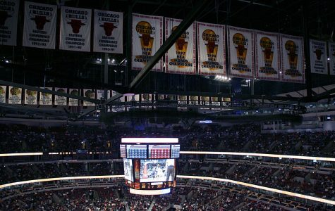 The Chicago Bulls' banners hang in their arena. All six of the Bulls' NBA Championships were won by Michael Jordan and company.