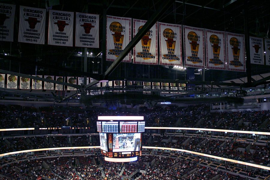 The+Chicago+Bulls%27+banners+hang+in+their+arena.+All+six+of+the+Bulls%27+NBA+Championships+were+won+by+Michael+Jordan+and+company.+++