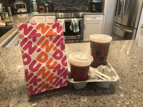 A Dunkin' package arrived like this during their