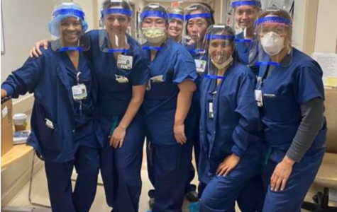 Nurses at the Sutter Health Hospital, in San Jose, wear face shields made by Dr. Ahn-Quan Thinh Nguyen.