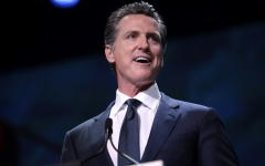 California Gov. Gavin Newsom gives a speech.