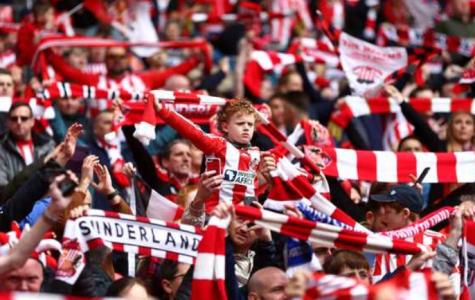 Sunderland fans celebrate after a goal was scored.