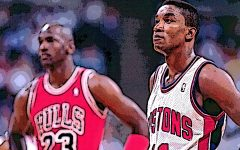 Before Michael Jordan (left) and the Chicago Bulls took over the NBA, Isiah Thomas (right) and the Detroit Pistons momentarily ruled the league.